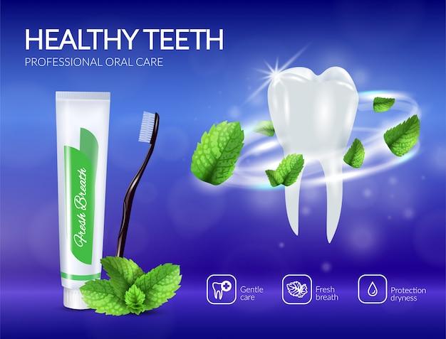 Cartel realista de productos de cuidado dental
