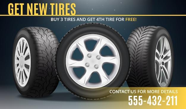 Cartel realista de publicidad de neumáticos