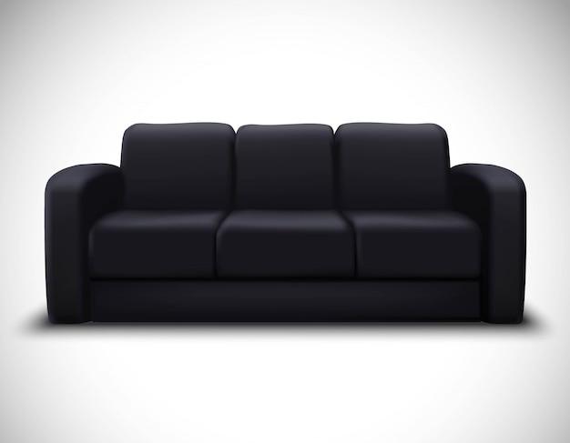 Cartel realista del sofá del elemento de la maqueta interior