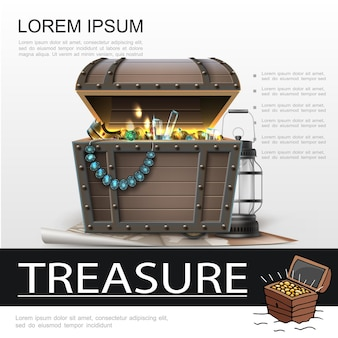 Cartel realista de tesoros piratas con linterna y cofre lleno de joyas y monedas de oro en el mapa pirata
