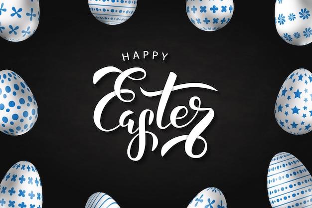 Cartel realista de venta de pascua con diseño de huevos.