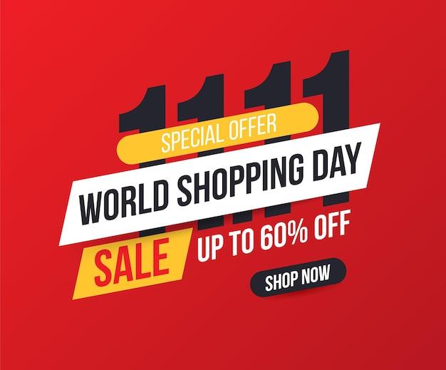 Cartel de rebajas y descuentos del día de compras. día mundial de las compras. ventas online.