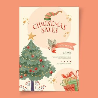 Cartel de rebajas navideñas a4