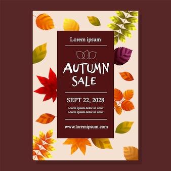 Cartel de rebajas de otoño con hojas.