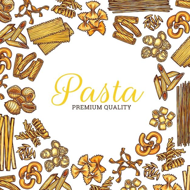 Cartel redondo de boceto de pasta italiana, espaguetis y macarrones