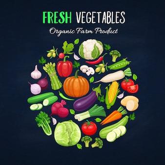 Cartel redondo composición con vegetales coloridos