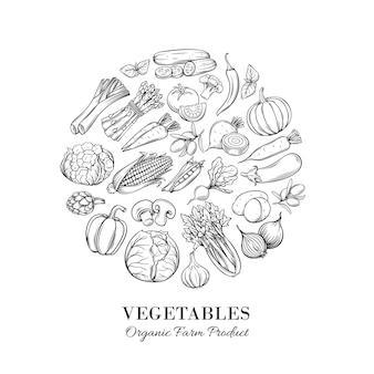 Cartel redondo composición con vegetales dibujados a mano