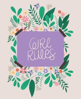 Cartel de reglas de niña con diseño de vector de hojas y flores