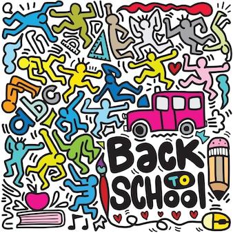 Cartel de regreso a la escuela con garabatos