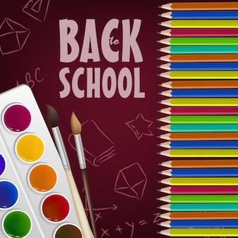 Cartel de regreso a la escuela con lápices de colores, caja de pintura.
