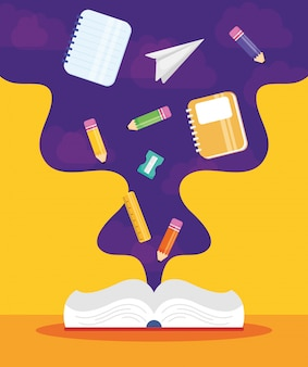 Cartel de regreso a la escuela con libro y útiles.