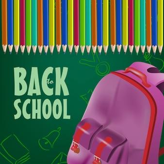 Cartel de regreso a la escuela con mochila, lápices de colores.
