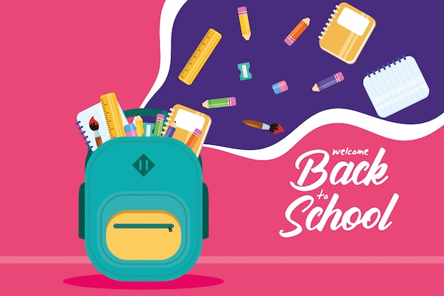 Cartel de regreso a la escuela con mochila y útiles escolares.
