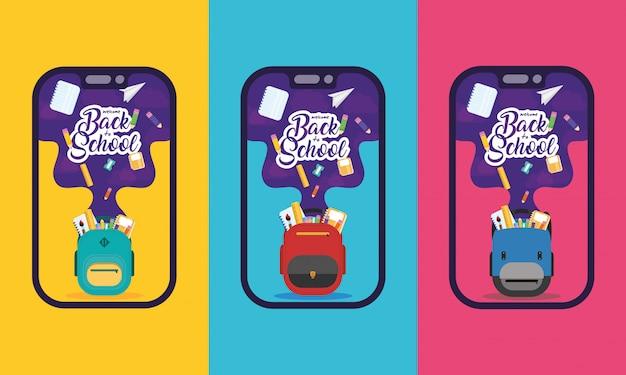 Cartel de regreso a la escuela con mochilas y útiles escolares en teléfonos inteligentes