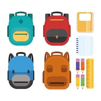 Cartel de regreso a la escuela con mochilas y útiles escolares.
