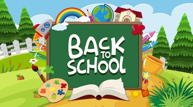 Cartel de regreso a la escuela con muchos artículos escolares en el fondo del parque