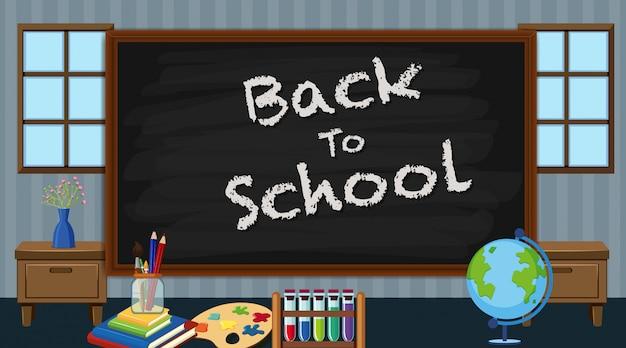 Cartel de regreso a la escuela con muchos artículos escolares