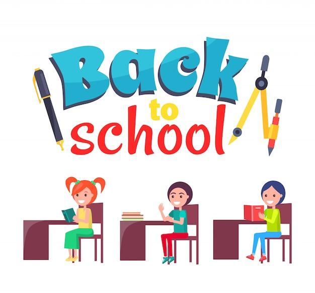 Cartel de regreso a la escuela con papelería y alumnos