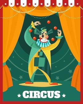 Cartel de rendimiento de malabarismo de circo payaso