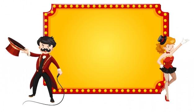 Cartel retro en blanco con hombre y mujer del espectáculo de circo