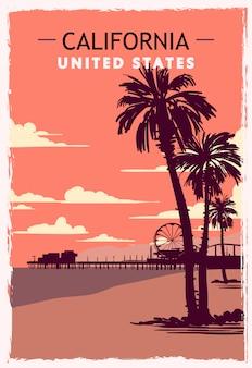 Cartel retro de california ilustración de viaje de california de estados unidos.
