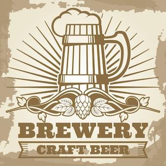 Cartel retro de cervecería con etiqueta de cerveza