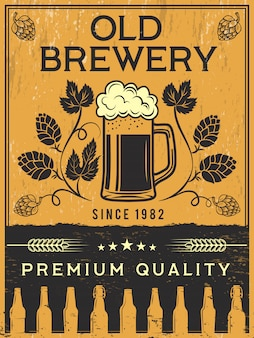 Cartel retro de cervecería. modelo