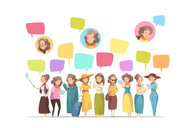 El cartel retro de la composición de la historieta de las actividades en línea de las mujeres mayores mayores con las burbujas de los mensajes del avatar y de la charla vector el ejemplo