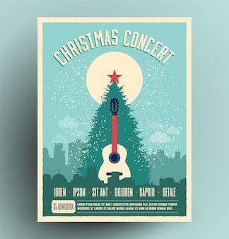 Cartel retro de concierto de navidad para evento musical en vivo con árbol de navidad y guitarra acústica