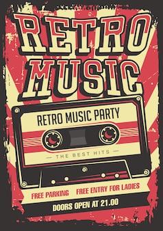 Cartel retro de la señalización del vintage del cassette de la música retra