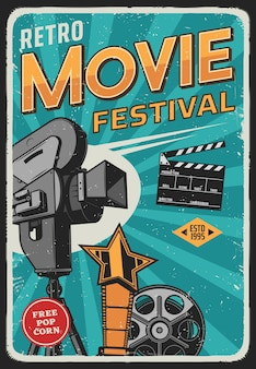 Cartel retro del festival de cine de cine y cine.