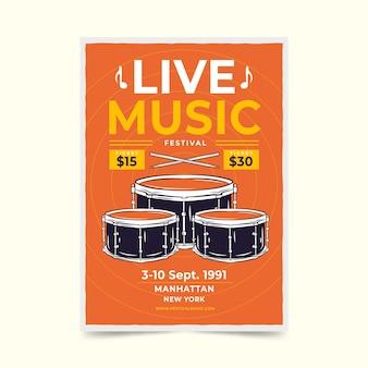 Cartel retro del festival de música en vivo