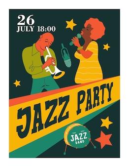 Cartel retro. fiesta de jazz. trompetista y cantante de jazz.