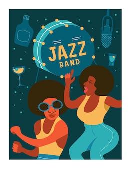 Cartel retro. la gente baila al ritmo de la música jazz.