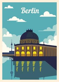 Cartel retro horizonte de la ciudad de berlín.