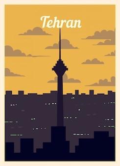 Cartel retro horizonte de la ciudad de teherán.