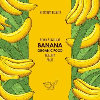 Cartel retro con ilustración de plátano y lugar para su texto.