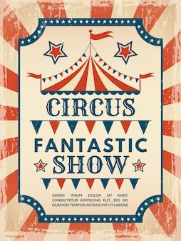Cartel retro invitación para espectáculo de magia de circo.