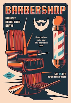 Cartel retro de servicio de barbería, peluquería de hombres o banner vintage de salón de estilista de corte de pelo