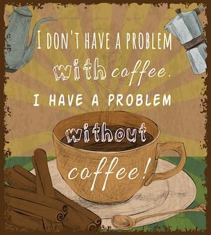 Cartel retro taza de café
