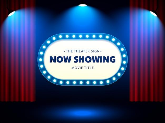 Cartel retro del teatro en la cortina roja