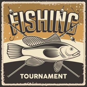 Cartel retro del torneo de pesca de la vendimia