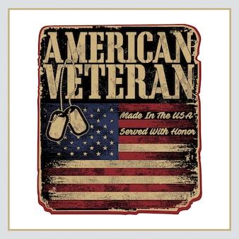 Cartel retro veterano americano