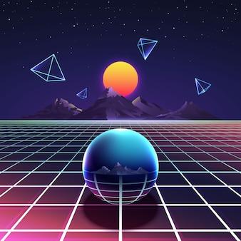 Cartel retro vibrante del vector de la noche del sintetizador futurista en estilo nostalgia de los años 80 con montañas, pirámides abstractas y esfera de metal. ciberespacio digital e ilustración de superficie brillante de rejilla de iluminación