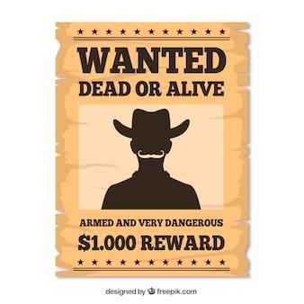 Cartel retro de western para encontrar delincuente