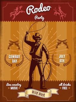 Cartel de rodeo vintage con vaquero lanzando lazo y elementos del salvaje oeste