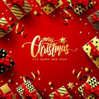 Cartel rojo de feliz navidad y año nuevo con caja de regalo