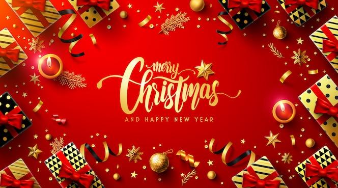 Cartel rojo feliz navidad y feliz año nuevo