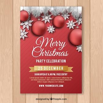 Cartel rojo para la celebración de la navidad