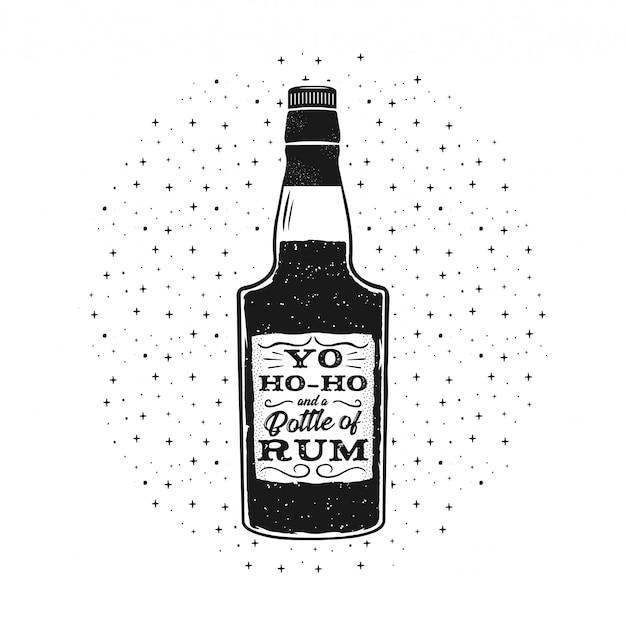 Cartel de ron divertido dibujado a mano con botella y cita - yo-ho-ho y una botella de ron.